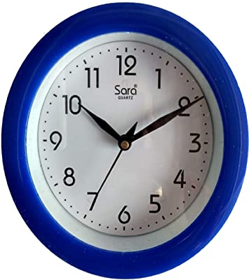 Stop to Shop Small Wall Clock for Kitchen/Study Room (Blue)