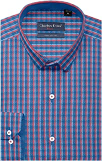 Charles Dino Mens Slim FIT 100% Cotton Multi Colored CHEKERED Shirt for Casual WEAR
