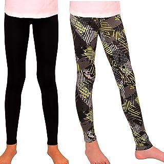 Syleia Girl Leggings High Rise Grey&Green Rectangles