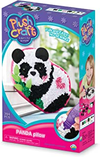 The Orb Factory Panda Pillow Arts & Crafts, White/Black/Pink/Green, 7.5