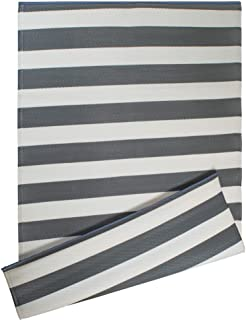 DII CAMZ38836 Stripe Outdoor Rug, 4x6 Gray & White