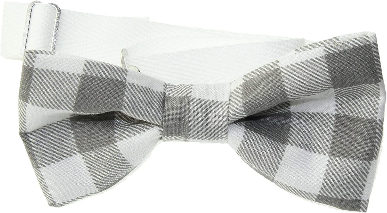 Men's Gray & White Plaid Pre-Tied Adjustable Cotton Bow Tie
