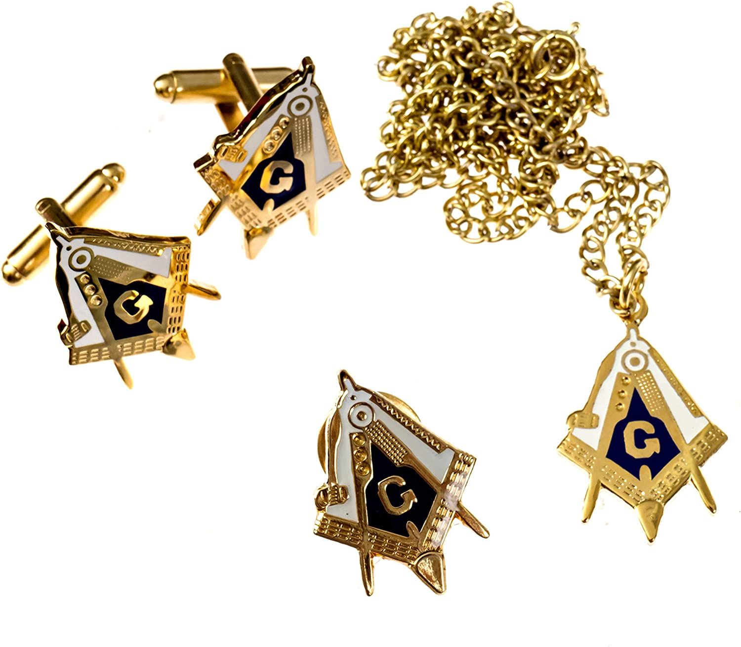 Working Tools Square & Compass Lapel Pin Cufflink Necklace Masonic Combo Pack