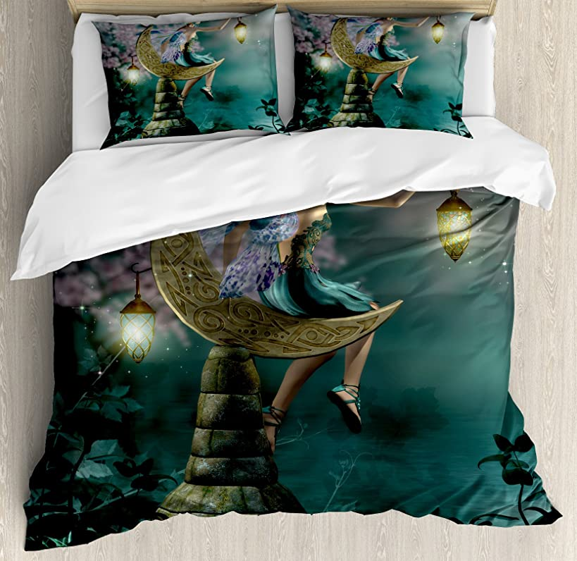 Ambesonne Fantasy Duvet Cover Set, Little Pixie with Lantern Sitting Moon Stone Fairytale Myth Artwork, Decorative 3 Piece Bedding Set with 2 Pillow Shams, Queen Size, Teal Lilac