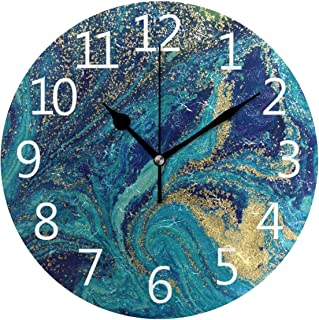 SUABO Wall Clock Arabic Numerals Design Marbled Blue and Golden Abstract Round Wall Clock for Living Room Bathroom Home Decorative