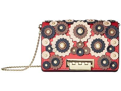 ZAC Zac Posen Earthette Accordion Mini Crossbody Broque Floral Applique (French Roast) Cross Body Handbags