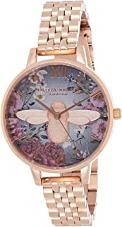Olivia Burton Women's Dark Grey & Bee Dial Ionic Rose Gold Plated steel Watch - OB16EX132