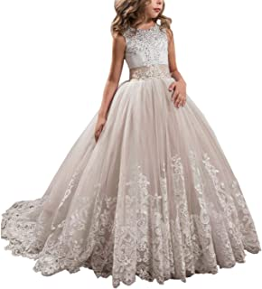 1537051a905 APXPF Long Tulle Flower Girl Dress Pageant Dresses Kids Prom Puffy Ball Gown