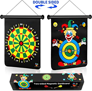 Magnetic Dart Board Game for Kids, Reversible Dartboard Set Includes 6 Safe Magnetic Darts and 2-Sided Target in a Gift Box, Indoor & Outdoor Game for Boys & Girls, Birthday Gift for Kids