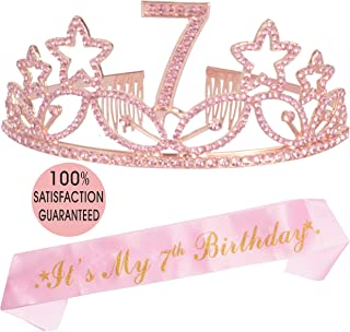 7th Birthday Tiara and Sash Pink, Happy 7th Birthday Party Supplies, Pink Glitter Satin Sash, and Crystal Tiara Birthday Crown for 7th Birthday Party Supplies and Decorations