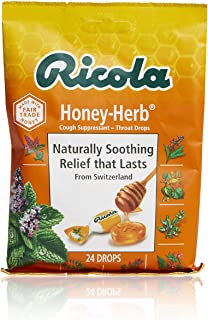 Ricola Honey Herb Herbal Cough Suppressant Throat Drops, 24ct Bag (Pack of 12)