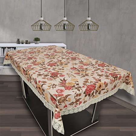 OrientalWeavers PVC Lotus 6 Seater Dining Table Cover, 54 X 78 in ,Rectangle Shape with Maching Lace Border ( Fits Table Top Size 2.5 Ft X 5 Ft to 4 Ft X 6 Ft), Beige Self Orange Floral