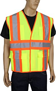 Safety Depot Class 2 Safety Vest Reflective Two Tone Hook & Loop Closure with Pockets Hi Viz ANSI/ISEA 107-2010 V5048 (3XL, Solid Fluorescent Yellow)