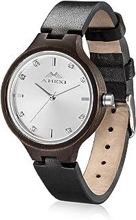 AMEXI - Reloj de cuarzo para hombre y mujer, 1.496 in, diámetro de la caja italiana, piel de becerro
