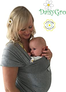 New Australia Release, Baby Wrap Carrier, Breathable Soft Stretchy Cotton, Baby Sling, Nursing Cover, Grey, Regular Size 6-12
