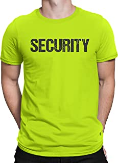 NYC FACTORY Men's Screen Printed Security T-Shirt Neon Tee Staff Event Crew Shirt Front & Back Print