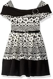 Beautees Big Girls' Daisy Print Marilyn Neck Skater Dress
