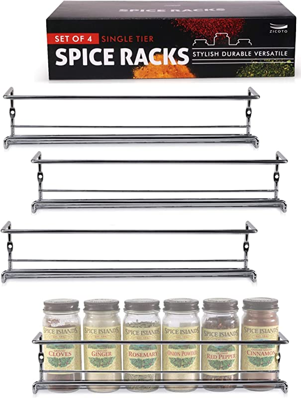 Gorgeous Spice Rack Organizer For Cabinets Or Wall Mounts Space Saving Set Of 4 Hanging Racks Perfect Seasoning Organizer For Your Kitchen Cabinet Cupboard Or Pantry Door