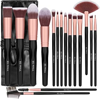 New BS-MALL Makeup Brushes Premium Synthetic Foundation Powder Concealers Eye Shadows Silver Black Makeup Brush Sets(16 Pc...
