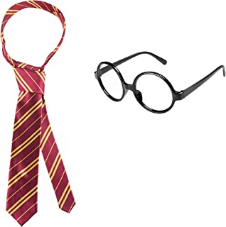 Striped Tie with Novelty Glasses Frame for Cosplay Halloween Christmas