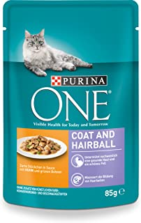 Purina One Coat & Hairball Kattenvoer, 24 Stuks Verpakking (24 x 85 g)