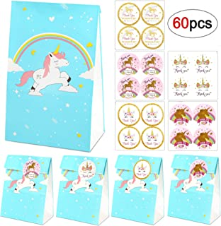 Unicorn Gift Bags Set, 20 Blue Rainbow Unicorn Paper Bags + 40 Magical Unicorn Thank You Stickers - Unicorn Party Favor Bags Birthday Party Supplies, Treat Bags/Goodie Bags for Kids