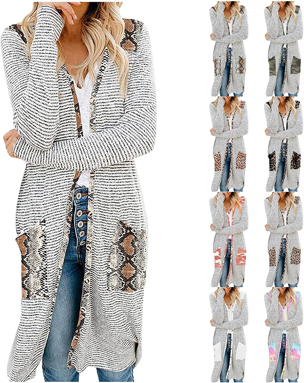 AODONG Cardigan for Women Summer Lightweight Long Sleeve Open Front Soft Knit Cardigan Sweater Outerwear with Pockets