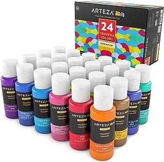 ARTEZA Kids Pinturas de tempera para niños | Caja de pinturas al temple con colores brillantes, metálicos y luminiscentes | Set de 24 botes de 60ml