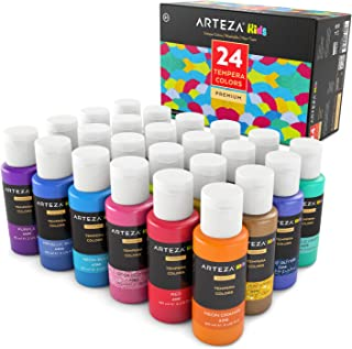 ARTEZA Kids Tempera Paint, Set of 24 Colors (24x2oz) Includes Flourescent, Glow in The Dark, Glitter, Metallic & Neon, Paints for Hobby Painters & Kids
