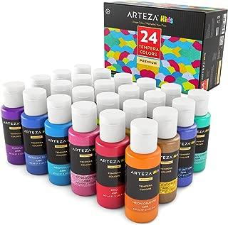 ARTEZA Kids Tempera Paint, Set of 24 Colors (24x2oz) Includes Flourescent, Glow in The Dark, Glitter, Metallic & Neon, Paints for Hobby Painters & Kids