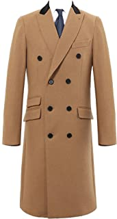 Mens Double Breasted Camel Cashmere & Wool Overcoat Winter Cromby with Velvet Collar & Gold Lining