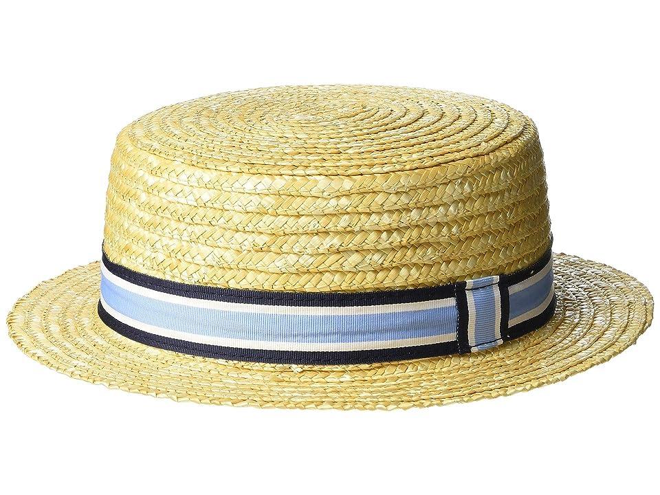 New Vintage Boys Clothing and Costumes Janie and Jack Stripe Boater Hat InfantToddlerLittle KidsBig Kids BlueWhite Stripe Fedora Hats $26.00 AT vintagedancer.com
