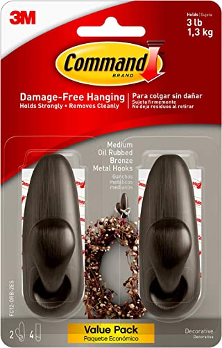 Command FC12-ORB-2ES Medium Forever Classic Value Pack, Oil Rubbed Bronze, 2 Hooks, 4 Strips