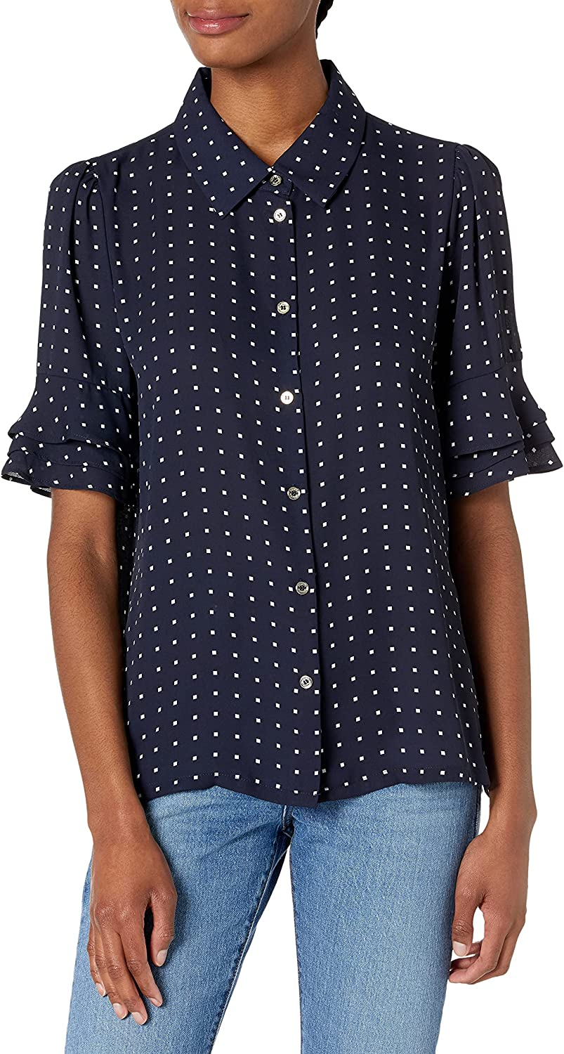 Tommy Hilfiger Women's Detailed Short Sleeve Button Down Blouse