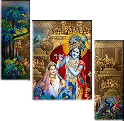SAF Radhe Krishna UV Textured Self Adhesive Home Decorative Painting - Set of 3 pieces (18 Inch X 12 Inch, Multicolor)