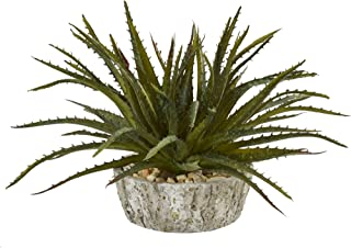 """Nearly Natural 9"""" Aloe Succulent Artificial Weathered Oak Planter Silk Plants Green"""