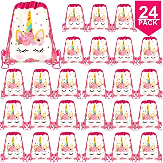 POKONBOY 24 Pack Unicorn Party Bags Unicorn Party Supplies, Unicorn Drawstring Gift Bags Unicorn Party Favors Bags Unicorn Goodie Bags for Kids Birthday Party Supplies Favor Bag
