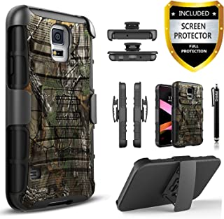 Galaxy S5 Case, Dual Layers [Combo Holster] Phone Cover and Built-in Kickstand Bundled with [Screen Protector] Hybird Shockproof and Circlemalls Stylus Pen for Samsung Galaxy S5 (Camo)