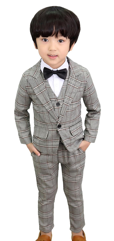 EOZY 子供スーツ 男の子 フォーマル ジャケット ベスト ズボン 3点セット 洋服 演奏会 入学式 結婚式 発表会 七五三 格子柄 おしゃれ