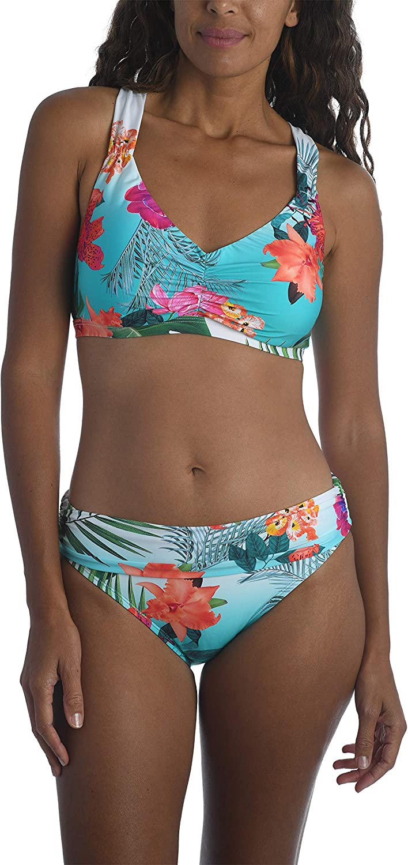 La Blanca Women's Plus Size D-Cup Shirred Banded V-Neck Halter Bikini Top