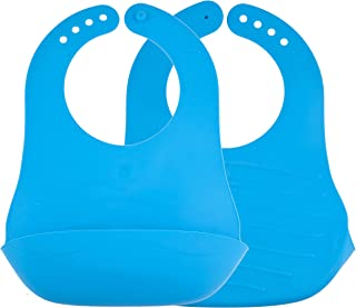 Avima Baby Waterproof Bibs with Crumb Catcher, Soft Rubber BPA Free, Easy to Clean, Blue (Set of 2)