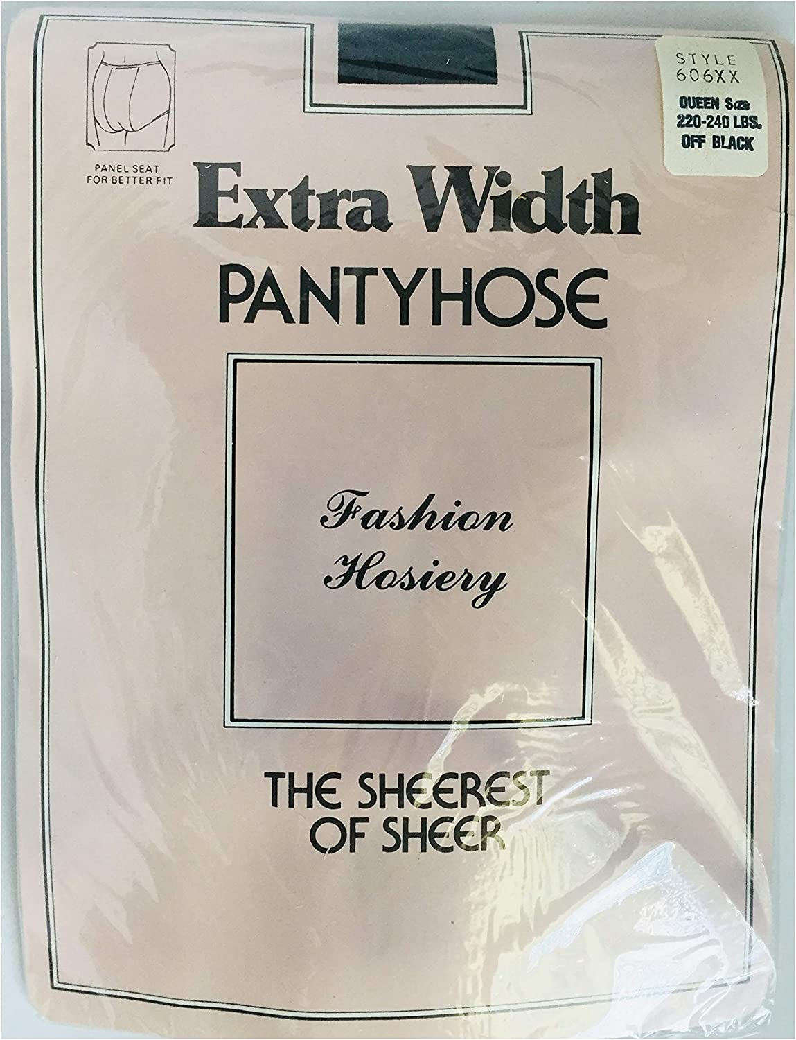 Fashion Hosiery Off Black Extra Width Pantyhose The Sheerest Of Sheer - Women Queen size