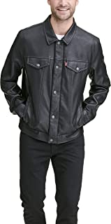 mens Faux Leather Classic Trucker Jacket