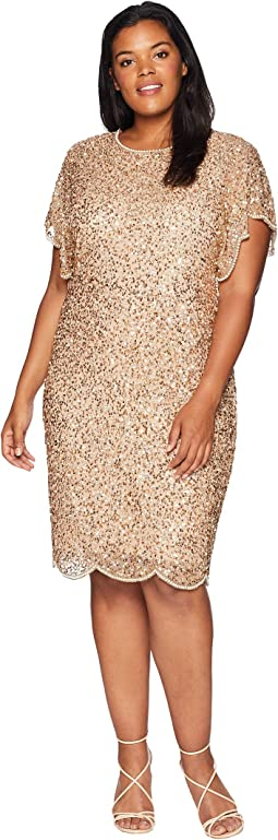 Plus Size Flutter Sleeve Beaded Cocktail Dress with Pearl Edge Detail