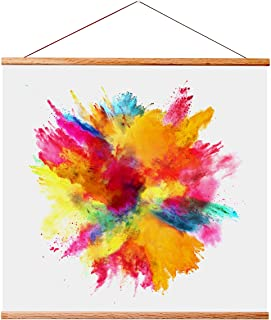 """Landmass 16"""" Wide Magnetic Poster Hanger Frame - 16x16 16x20 16x24 - Teak Wood Frame for Posters, Prints, Photos, Picture..."""