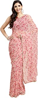 Womanista Crepe with Blouse Piece Saree (FSP0740A_Pink_OneSize)
