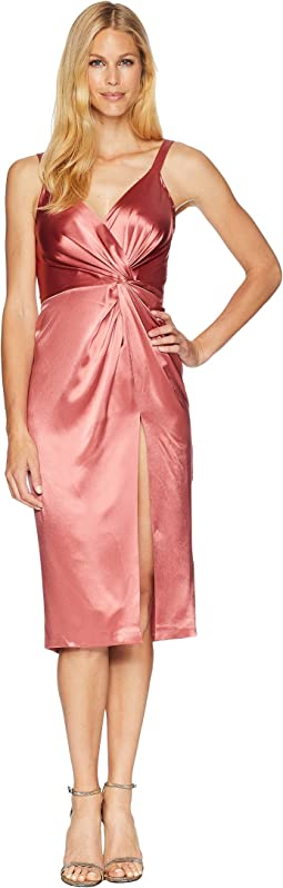 Satin Cocktail Dress with Twist Detail