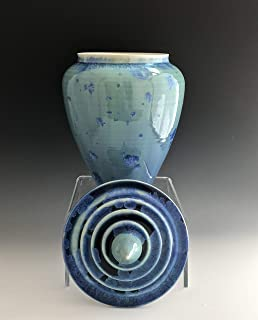 Large Raindrop Finial Ceramic Cremation Burial Urn for Ashes, Crystalline Pottery, SacredUrnsEtc by Susan Fontaine Pottery