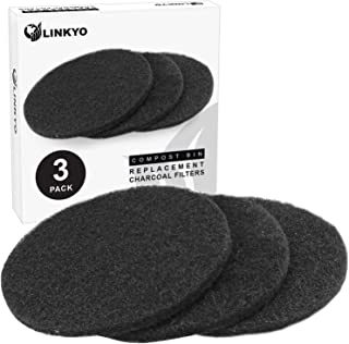 LINKYO Activated Carbon Compost Bin Filter Refill Pack - Set of 3 Odor Absorbing Charcoal Filters (7.25