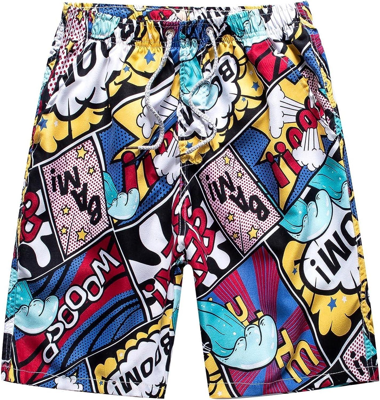 APOKIOG Men's Swim Trunks Summer Quick Dry Swim Shorts 5 inch Inseam Beach Shorts Fashion Printed Hawaiian surf Boardshorts
